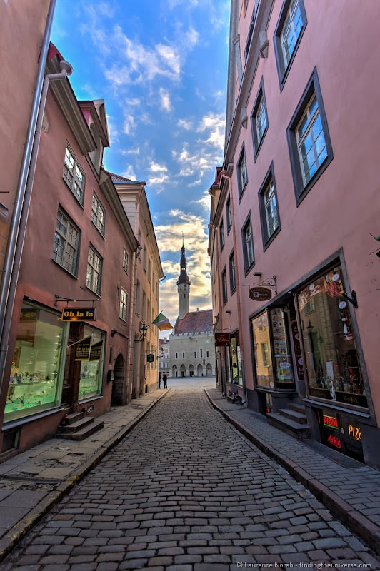 cobbled streets and town square of tallinn estonia