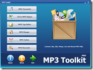 MP3 Toolkit suite gratis per gestire MP3: convertire, CD ripper, tag, unire, tagliare e registrare