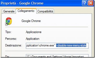 Proprietà – Google Chrome