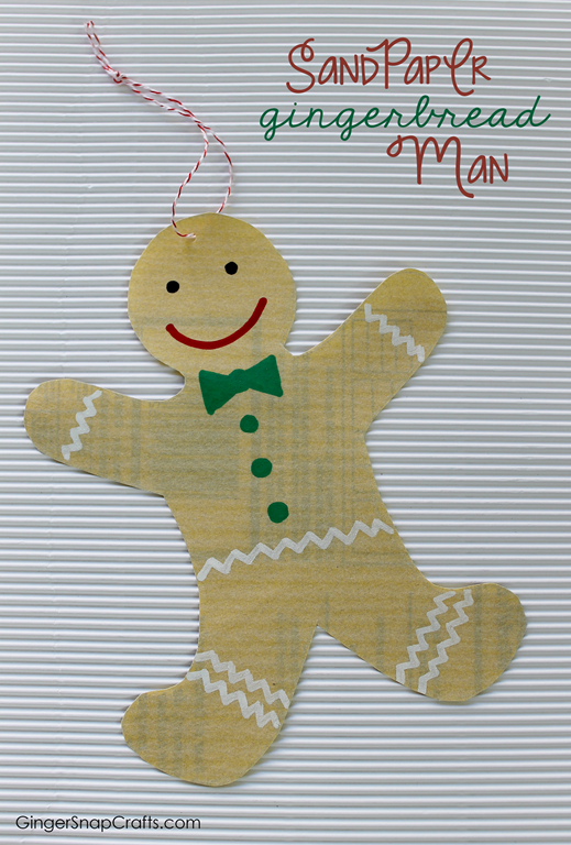 Gingerbread Man Ornament made with sandpaper from GingerSnapCrafts.com