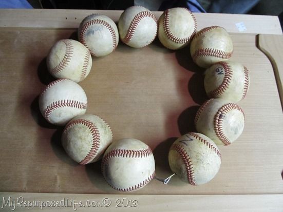 repurposed baseballs wreath