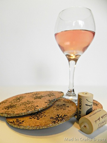 stamped cork coasters with a glittered edge