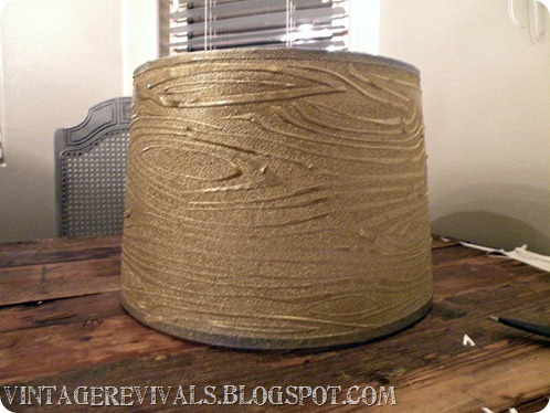 Wood Grain Glitter Lampshade With Krylon Glitter Blast Vintage