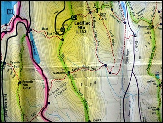 22a - heading down the mountain - Junction with West Face Trail to Bubble Pond MAP