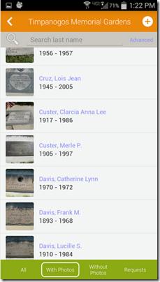 Accestry.com的纪念照片为Android寻找一个墓碑