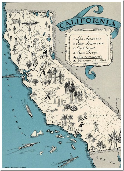 California Map Vintage 1930 Original Picture Map by SaturatedColor. via Etsy