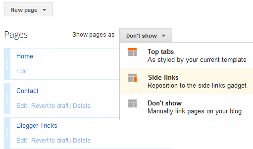 page settings in blogger