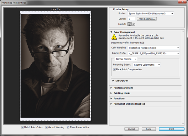 Photoshop CS6 Print Settings - Ilford Galerie Prestige Smooth Pearl Paper 310gsm