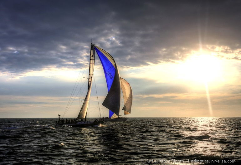 Sail boats at sunrise