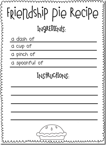 First Grade Recipes Activities