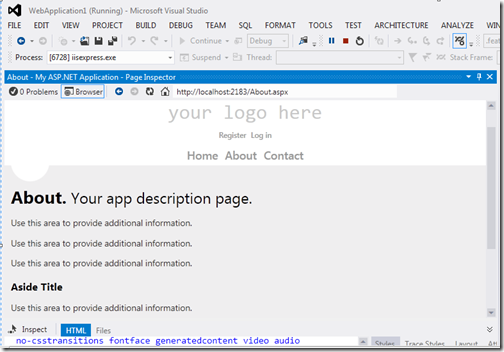 File loading in Page instpector Visual Studio 2012