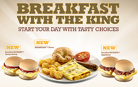 BURGER KING BREAKFEAST™ Platter, Breakfast BK SHOTS™ Egg Benny and Breakfast BK SHOTS™ Tomato Benny Seattle's Best Coffee®