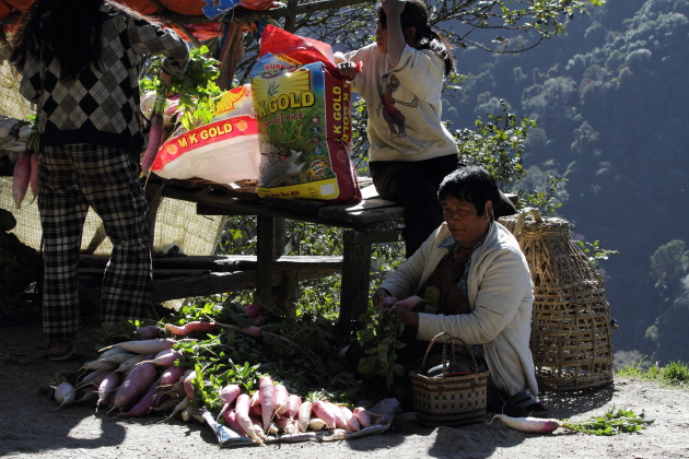 A street vegetable seller from Bhutan
