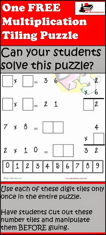 Free Tiling Puzzle for Basic Multiplication Facts from Raki's Rad Resources