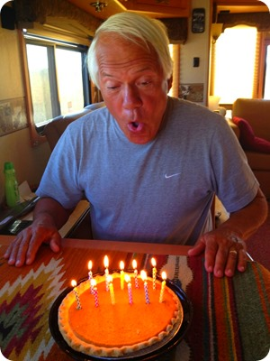 paul blowing out candles