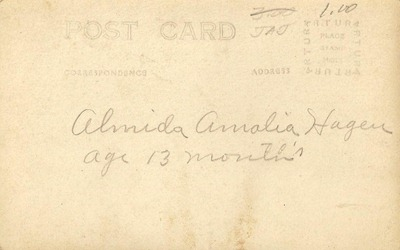 Almida Amalia Hagen Postcard  DL Antiques back