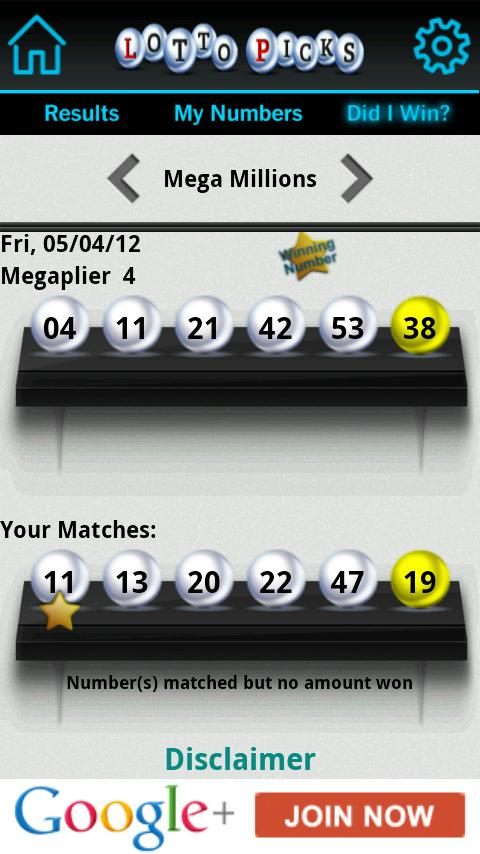 Lotto Picks US lottery results - screenshot