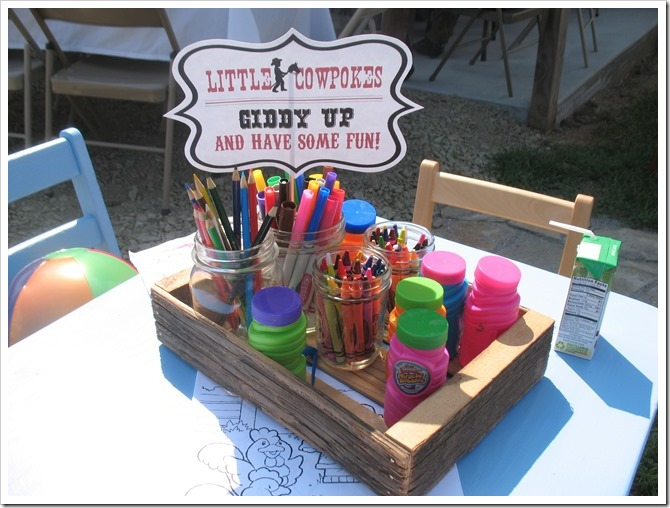cowboy party kids activity table