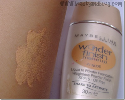Maybelline Wonder Finish Liquid To Powder Foundation in 21 Nude Review And Swatch