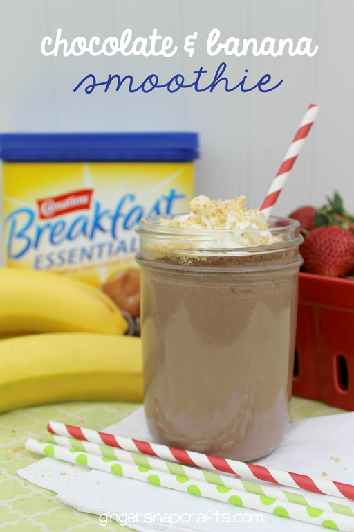Chocolate & Banana Smoothie at GingerSnapCrafts.com #breakfastessentials #pmedia #ad