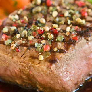 Peppercorn Crusted Filet Mignon with Balsamic Red Wine Sauce.