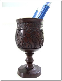 South African carved goblet as pencil cup {Little Victorian}