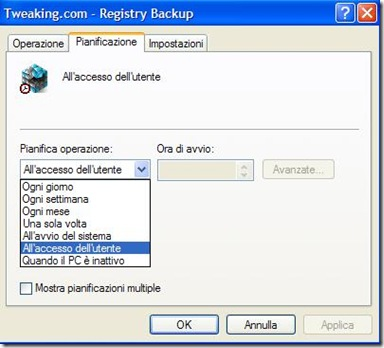 Tweaking.com - Registry Backup pianificare la creazione automatica dei backup del registro di sistema di Windows