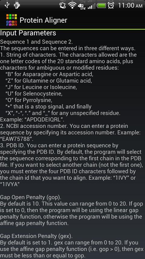 Pairwise Protein Aligner- screenshot