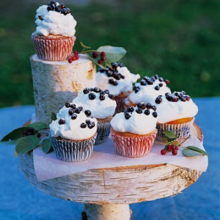 Huckleberry Cupcakes with Sweet Cream
