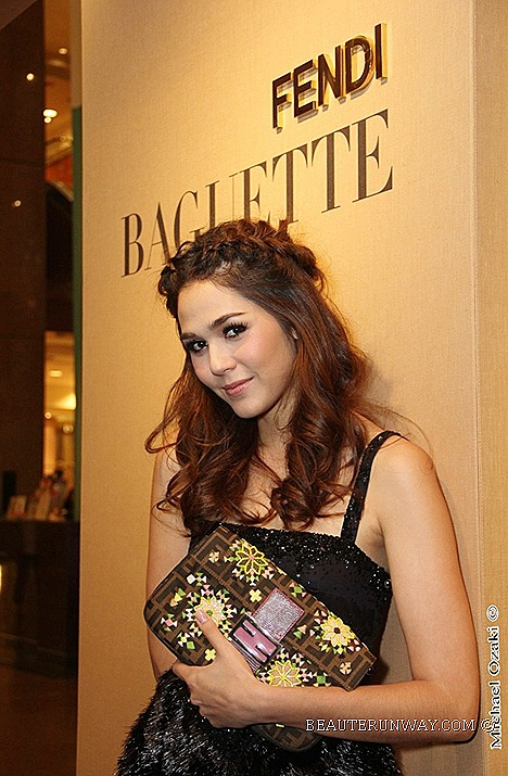 Chompoo Araya A. Hargate FENDI ZUCCA BAGUETTE BAG Fall Winter 2012 2013 ready to wear fur collection accessories BAGUETTE BAGS BOOK LIMITED RE-EDITION FENDI celebrities Singapore flagship store opening south east asia