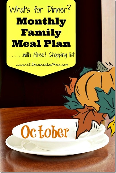 October meal planner with free shopping list #mealplanner