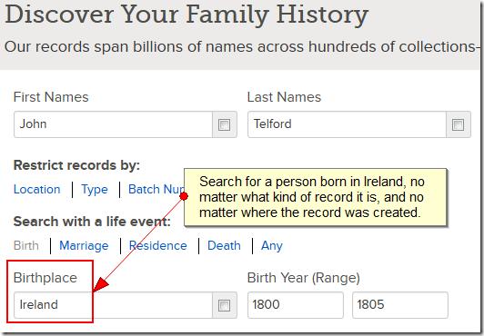搜索在爱尔兰出生的人,无论什么样的记录或创建的地方。