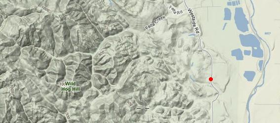 Terrain map of Wild Hog Hill