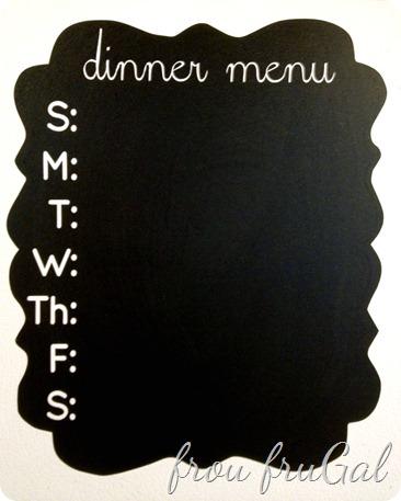 Chalkboard Vinyl Dinner Menu