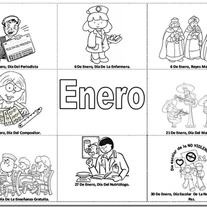 Vistoso Enero Para Colorear Para Niños Imágenes - Dibujos Para ...