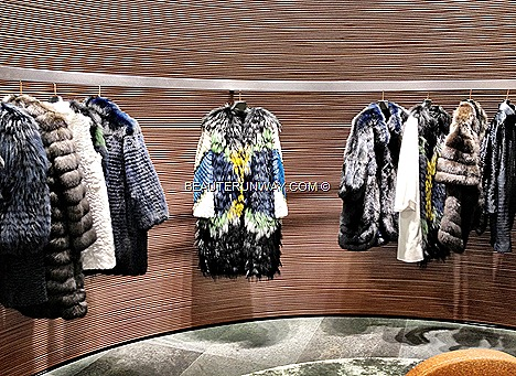 FENDI Fall Winter Fur mink luxury coat 2012 2013 Collection BAGUETTE women's ready-to-wear, dress jacket bags shoe leather goods fur accessories showcase grand opening new FENDI South East Asia flagship boutique