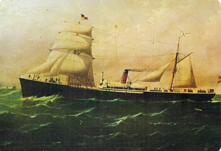 Óleo del vapor FRANCOLI con su aparejo desplegado. De la MEMORIA EJERCICIO 1974. COMPAÑÍA TRASMEDITERRANEA S.A.jpg