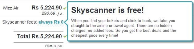 Skyscanner is free