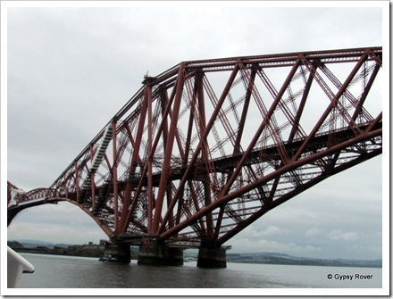 Close up of the Firth of Forth railway bridge from a cruise boat.