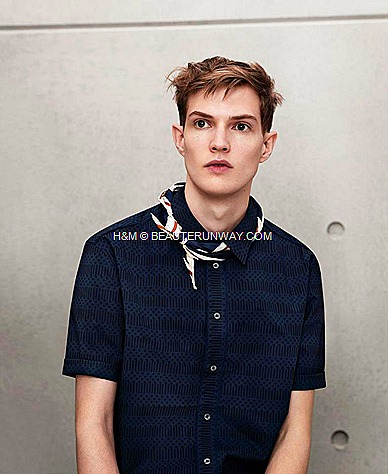 Marni H&M Mens Navy Blue woven shirt and Scarf