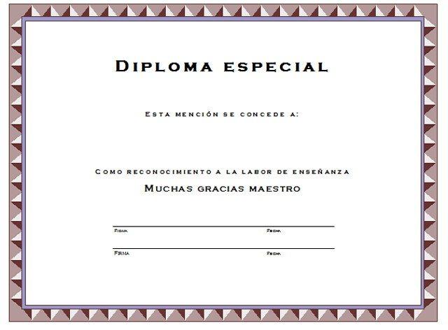 Diploma para el maestro