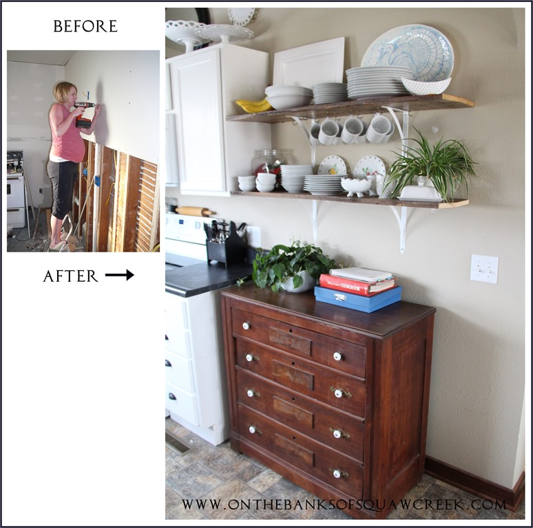 Before and after kitchen wall