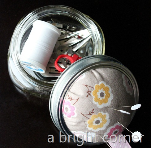 filled pincushion jar