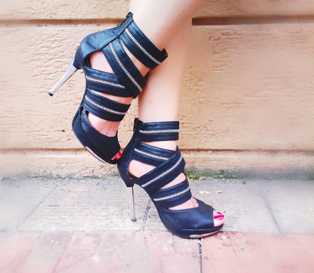 Black Zipper Ankle Heels