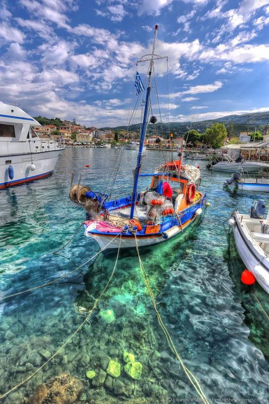 Boat in Greek harbour