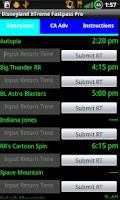 Screenshot of Disneyland XTreme Fastpass Pro