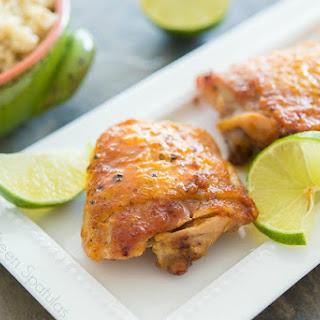 Sticky Honey Lime Chicken Thighs.