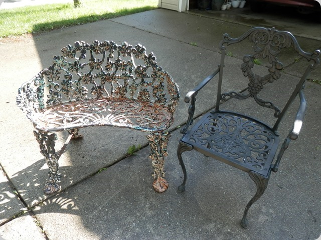 Old Cast Iron yard furniture just after a good power washing.