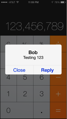 Message on calculator
