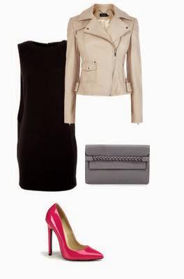 Vestido preto, blusão biker bege, clutch cinza e sapatos salto rosa